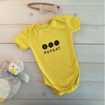 Pamutka Baby - eat-sleep-poop repeat, sárga kombidressz